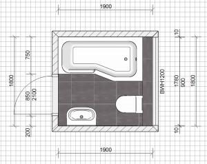 kleine badkamer plattegrond