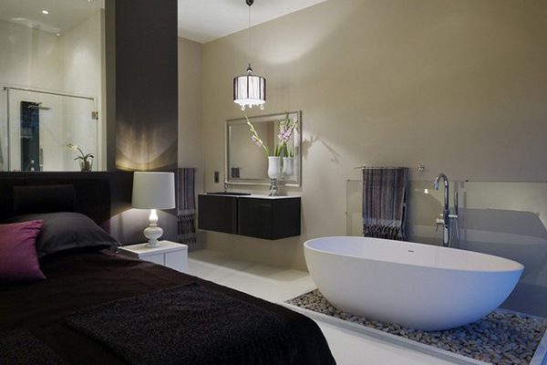 Slaapkamer Met Open Badkamer : Modern Master Bedroom with Bathroom