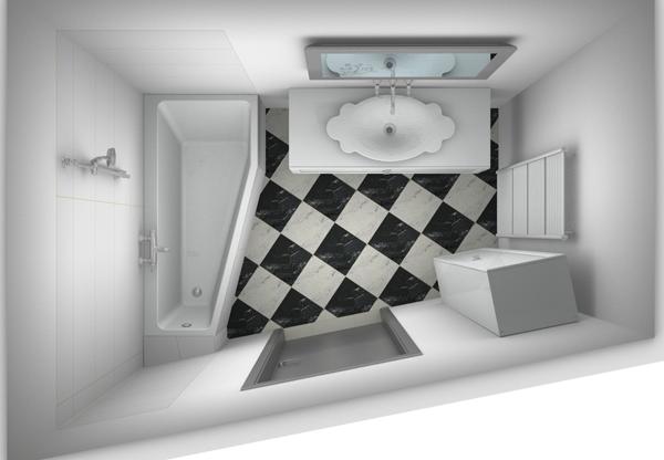 kleine badkamer indelen schuine kant