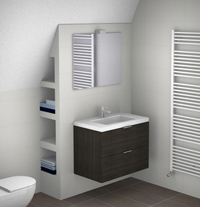 Kleine badkamer met schuin plafond