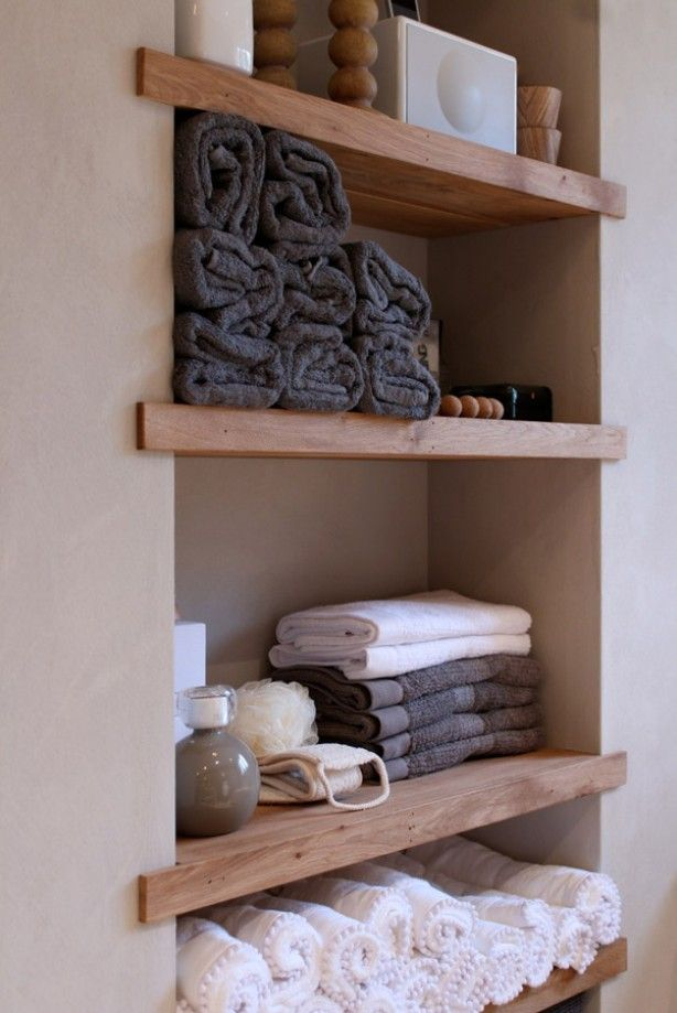Voorbeelden Koof Keuken : Wooden Bathroom Shelves