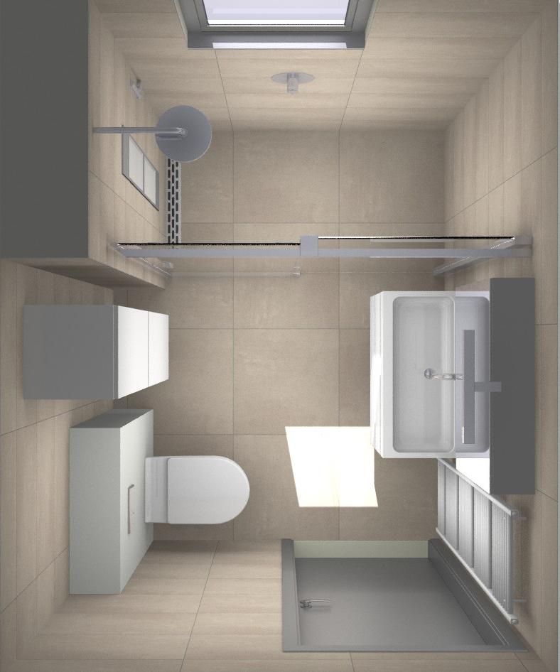 Douche met zonnebank in de kleine badkamer sunshower for Inrichting badkamer 3d