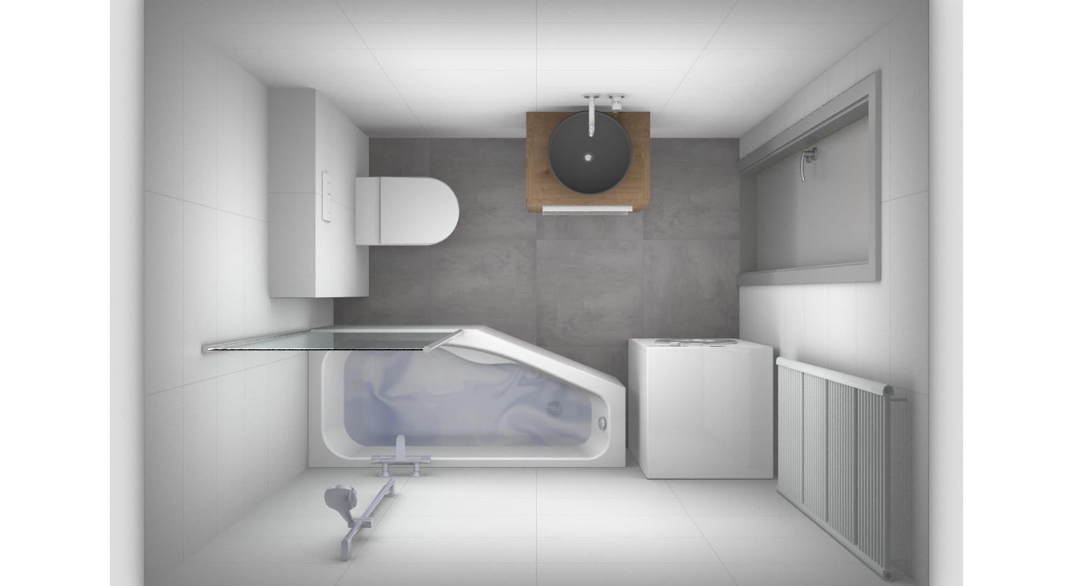kleine badkamer met wasmachine