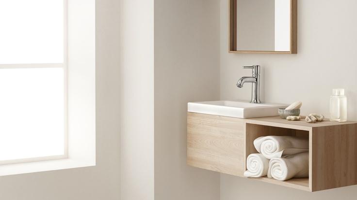 Kleine wastafel en meubel met opbergruimte hansgrohe kleine badkamers - Toilet wastafel ...