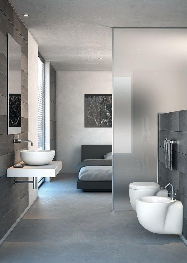 badkamer-in-slaapkamer-modern - kleine badkamers, Deco ideeën