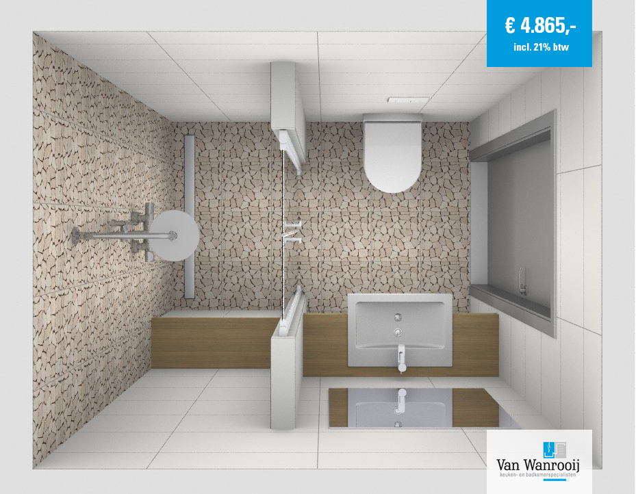 Badkamer met mozaïek tegels - Kleine badkamers