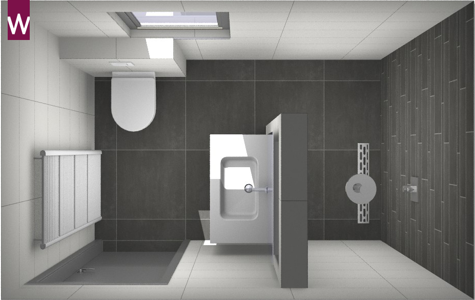 Voorbeeld een kleine badkamer met grote tegels for Fotos wc hangen tegel
