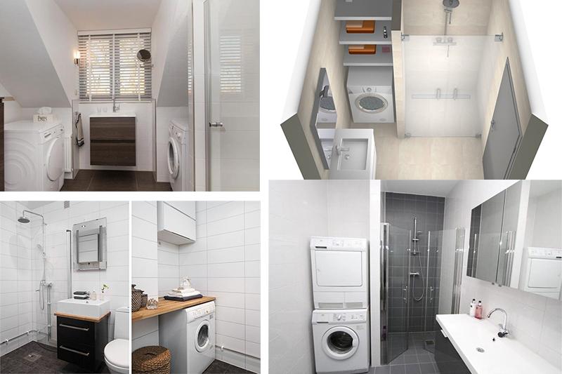 Voorbeelden van een kleine badkamer met wasmachine