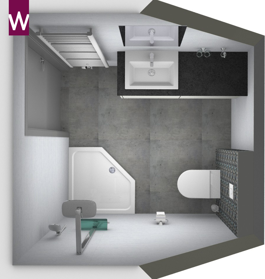 Kleine badkamer onder schuin plafond kleine badkamers - En grijze bad leisteen ...