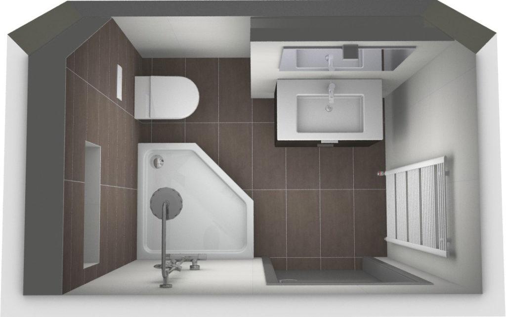 Complete badkamer onder schuin plafond kleine badkamers - Kleine betegelde badkamer ...