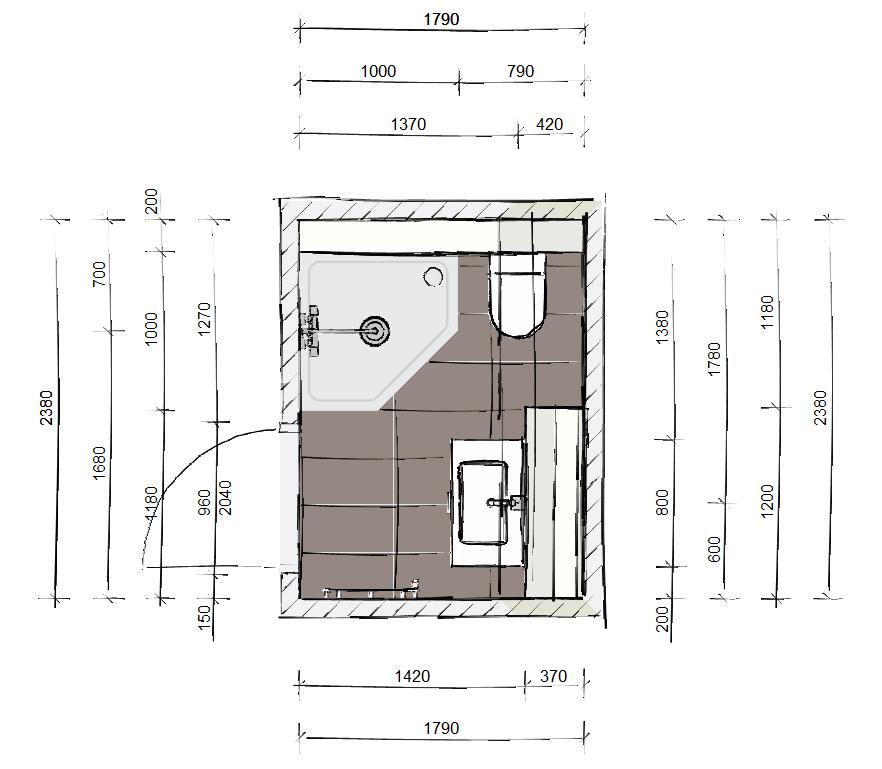 Tekening kleine badkamer - Kleine badkamers