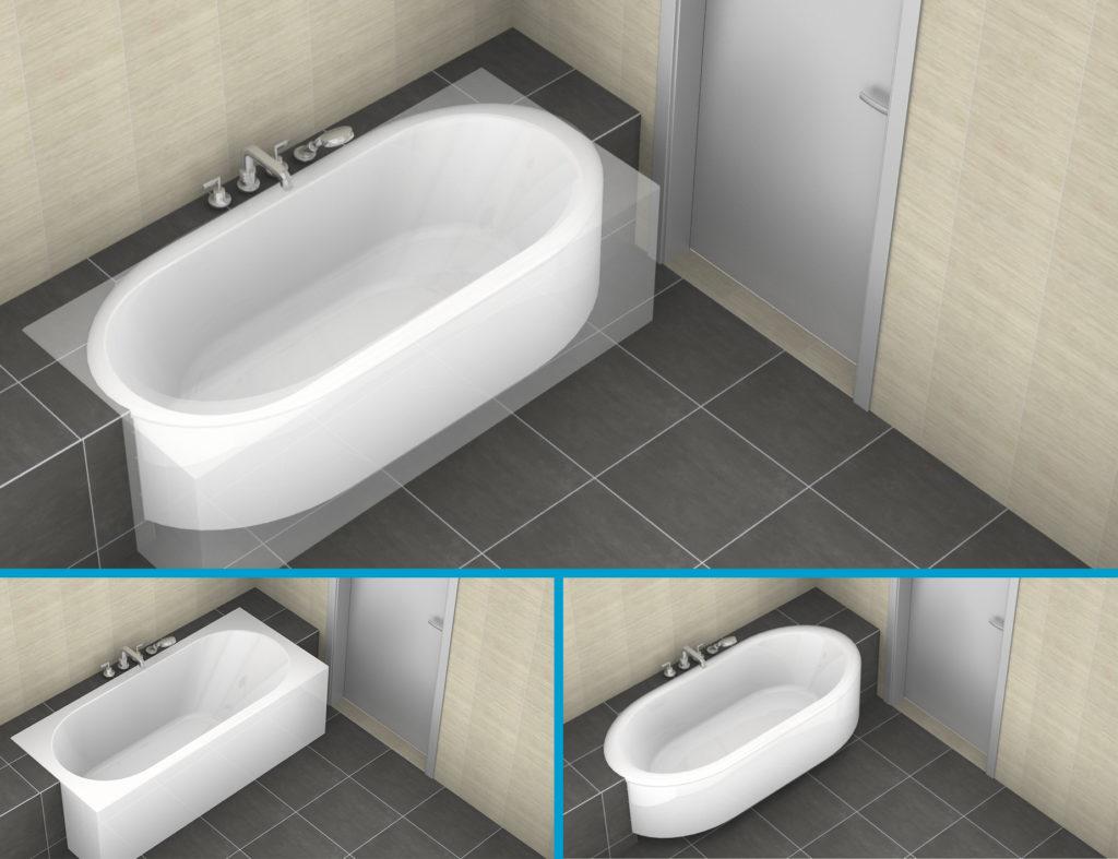 Een ovaal bad vs een recht bad - Kleine Badkamers.nl