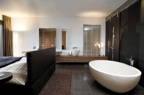 slaapkamer-met-badkamer - kleine badkamers, Deco ideeën