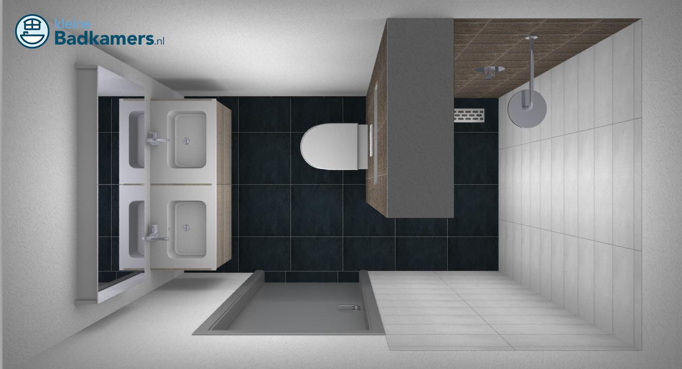 Kleine badkamer met dubbele wastafel kleine badkamers - Badkamers ...