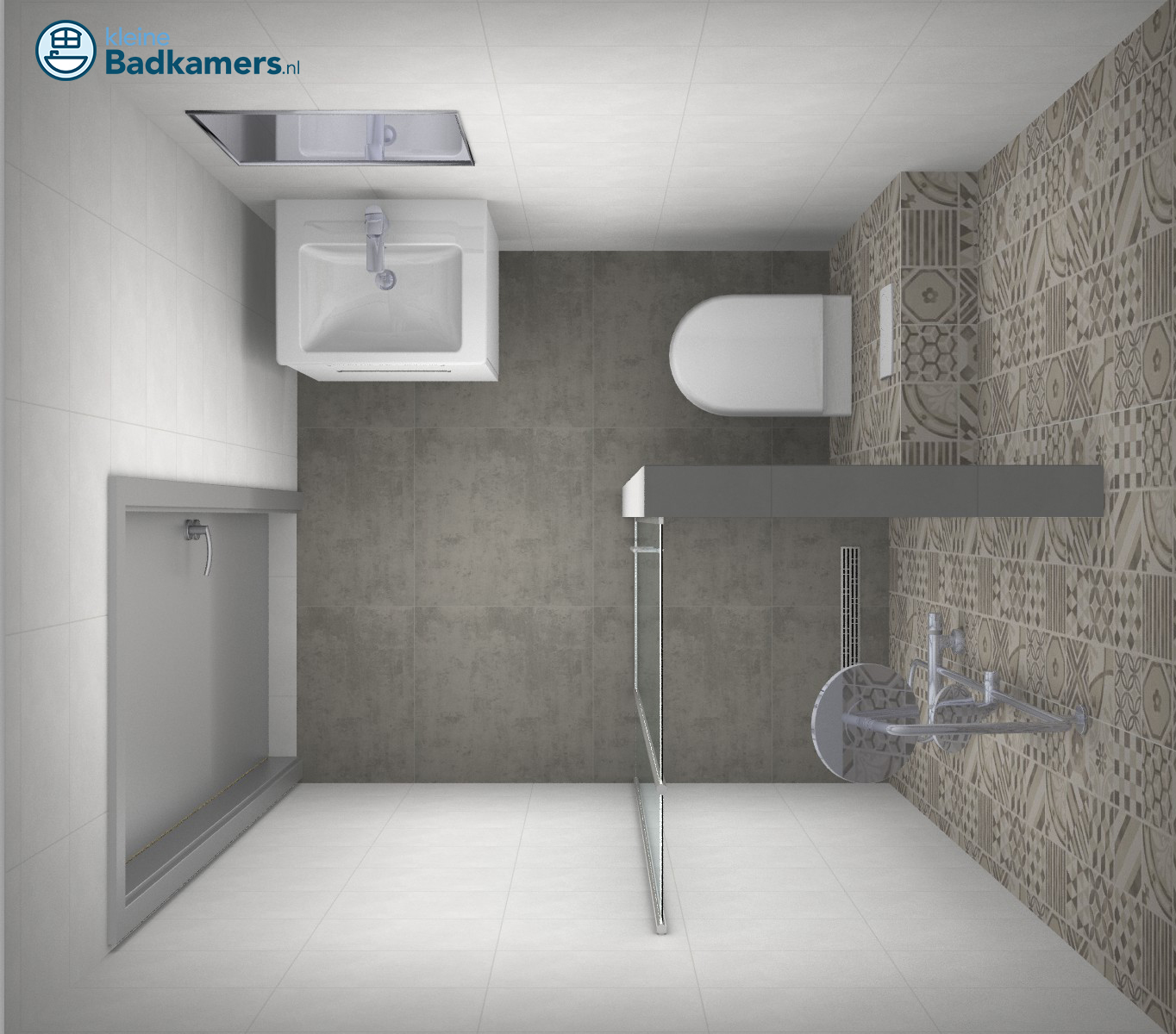 Kleine badkamer met trendy tegels kleine badkamers - Badkamer in m ...