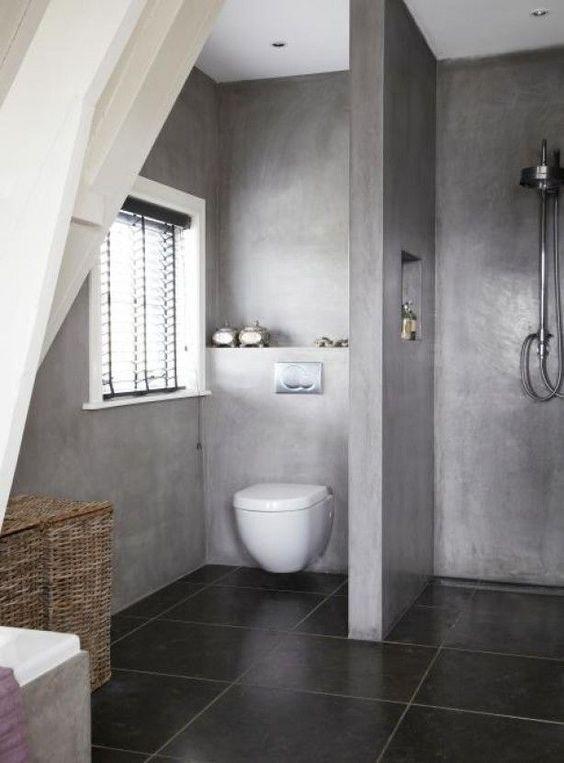 beton-cire-badkamer - Kleine badkamers